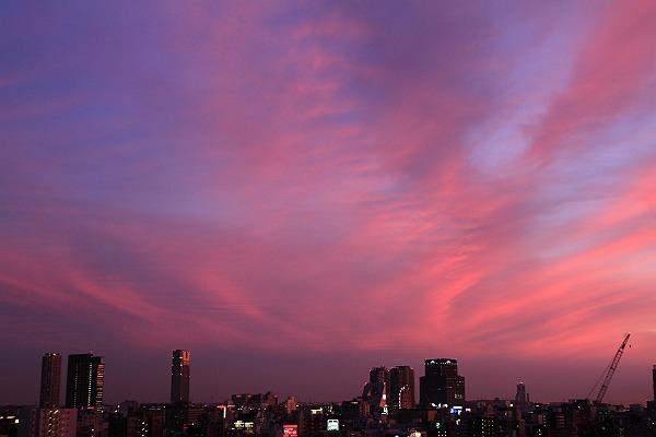24日の夕景、南西方角